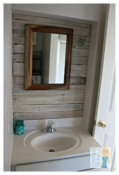 Beachy Rustic Bathroom from CraftedNiche.com with planked wall using pallet wood planks