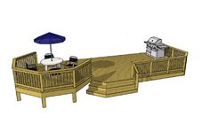 One of our widest deck plans at 32' wide.  460 sf and the plans are free.  Download the deck plans today.