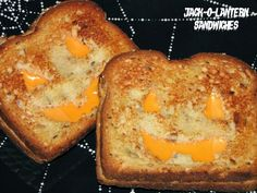 Halloween Meal - Jack O Lantern Sandwiches - Toasted Cheese Sandwiches with Faces cut out