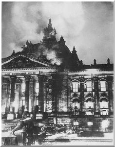 Reichstag Fire, 1933 One of the lies used to complete the take over of Germany because they used it to demonize the communist party and consolidate their power.