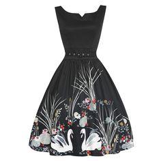 Delta Swan Border Print Swing Dress| 50s Inspired Fashion - Lindy Bop