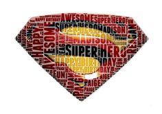 Personalised Birthday Superman Logo Marvel DC Comic Children Boys word art Gift