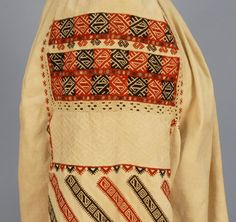 Cream cotton embroidered in a geometric pattern of earth tones, gathered at the neck and sleeve. on Apr 2013 Folk Costume, Costumes, Embroidered Blouse, Fashion Branding, Vera Bradley Backpack, Shirt Blouses, Auction, Embroidery, Pattern
