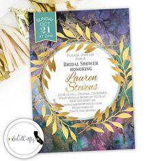 Gold Leaf Bridal Shower Invitation, Watercolor, Gold Glitter, Wreath, Teal…