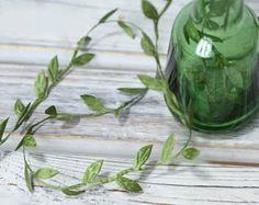 10 Yards-Artificial Vintage Green Silk Leaves,Flower Crown Leaves,Embossed Fabric Leaf,Millinery Supplies,Artificial Wedding Floral Supplies