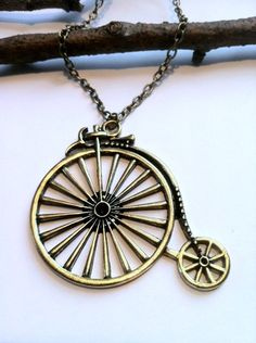 Retro Bicycle Necklace - Antiqued Brass Bike Necklace. $20.00, via Etsy.