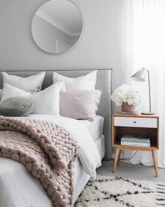 34 Scandinavian Bedroom Ideas That Are Modern And Stylish , The bedroom is just one of the rooms where a Scandinavian interior design is the perfect selection. On occasion a white bedroom requires a bit of colo. Gray Bedroom, Trendy Bedroom, Home Decor Bedroom, Bedroom Furniture, Master Bedroom, Bedroom Mirrors, Bedroom Bed, Small Modern Bedroom, Bedroom Headboards