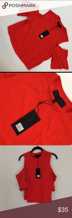 🆕Kendall + Kylie Cutaway t-shirt Fiery red cutaway tee shirt. 95% cotton 5% spandex. Stock picture of orange top shows you how it looks on.. Have a question leave it in the comments. Kendall & Kylie Tops Tees - Short Sleeve