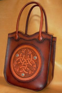 leather bag with celtic design