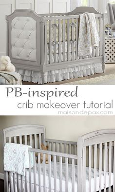 Want a Pottery Barn style crib without the price? See this tutorial for a… Crib Makeover, Furniture Makeover, Painting A Crib, Paint Crib, Chalk Painting, Kids Craft Tables, Pottery Barn Style, Grey Crib, Baby Furniture