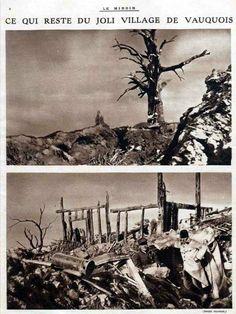 WW1, Western Front, France: All that remains of the pretty village of Vauquois. WW1, Western Front, France: Tout ce qui reste du joli village de Vauquois.