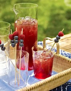 garnish drinks with skewers that have blueberries and raspberries to make it more festive.