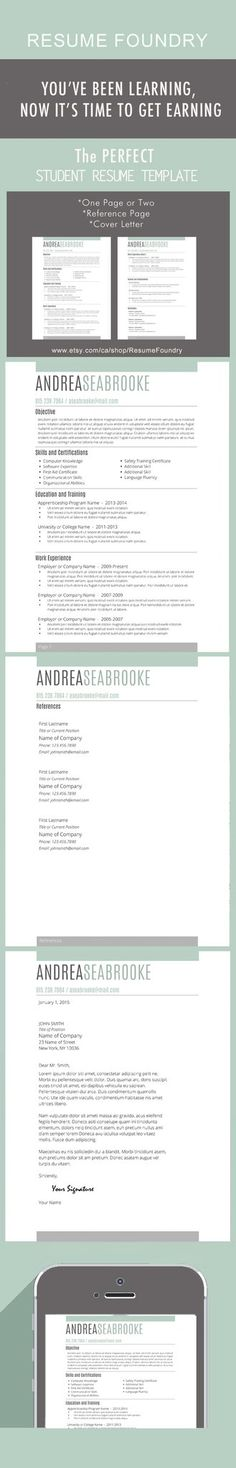 Awesome Resume Template for Students - One Page, Two Page, Cover Letter and Reference Page - all for $15. Look professional with this beautiful resume.