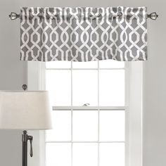 Lush Decor Edward Trellis Valance In Grey - Bring chic sophistication to your window with the Lush Decor Edward Trellis Valance. Boasting a white trellis design on a grey ground, this unique valance is a stylish addition to your bedroom or living room. Trellis Design, Trellis Pattern, Tier Curtains, Window Curtains, Valance Window Treatments, Room Window, Window Coverings, Valance Patterns, Lush