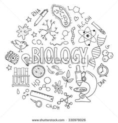 Hand drawn vector set with school equipment. Can be used for design. Biology lesson