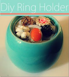 DIY ring holder. I just a little ceramic teapot that this would work fabulously with. Now I can finally use some of my fabric scraps for something. -Cheyenne