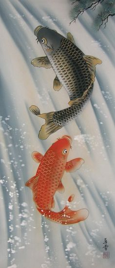[ Jumping Carp Couple ] Japanese New Bird-and-Flower Drawing Koi Painting, Japanese Painting, Chinese Painting, Chinese Art, Japanese Art Styles, Japanese Prints, Koi Art, Fish Art, Fantail Goldfish