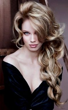 Bride's gorgeous long down #curls #hair  loose side braid ToniK #Wedding #Hairstyles ♥❸  Perfection! #sexy