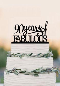 90th of fabulous cake topper acrylic birthday by balmaindesign