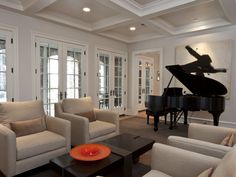 French doors, hardware, coffered ceiling Wall Molding, Moldings, Family Room Design, Pocket Doors, French Doors, Beach House, Condo, Interior Design, Coffered Ceilings