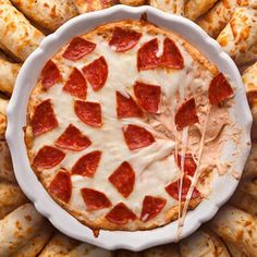 Pepperoni Pizza Dip Recipe Appetizers, Lunch and Snacks with mozzarella cheese, pepperoni slices, cream cheese, whole milk ricotta cheese, grated parmesan cheese, oil, kosher salt, dried oregano, red pepper flakes, ciabatta