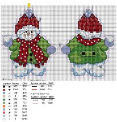 Cross-stitch Snowman Christmas Ornament, part 1... sneeuwpoppen