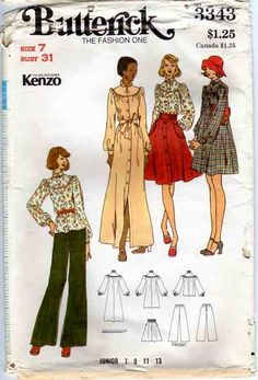 Uncut 70s Designer Kenzo Dress Blouse Skirt and Pants Vintage Sewing Pattern - Bust 31