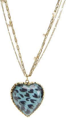 ShopStyle: Betsey Johnson Leopard Heart Pendant