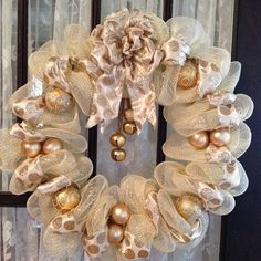 Gold Christmas Wreath by MadeByMelissy on Etsy, $33.00