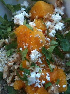 Spinach, brown rice, warm butternut squash, Allegheny chevre from Firefly Farms, chopped walnuts, chopped celery leaves and a drizzle of hazelnut oil and ume plum vinegar.