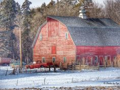 abandoned barns | Big Red Barn in Rural South Dakota...photo by Cyn...Jan 2014