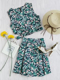 ¡Cómpralo ya!. Leaf Floral Print Cut Out Zip Up Back Top With Skirt. Skirt Green Cotton Floral Round Neck Sleeveless Zip Cute Vacation Fabric has no stretch Summer Two-piece Outfits. , tophombrosdescubiertos, sinhombros, offshoulders, offtheshoulder, coldshoulder, off-the-shouldertop, schulterfreiestop, tophombrosdescubiertos, topdosnu, topspallescoperte, hombrosdescubiertos. Top hombros descubiertos de mujer de SheIn.