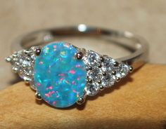 blue fire opal Cz ring gemstone silver jewelry Sz 6.75 engagement cocktail H762 #Cocktail