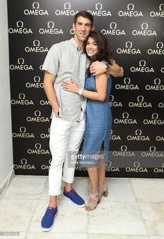 Michael Phelps and Nicole Johnson pictured at Swimming Legends night at OMEGA House Rio 2016 on August 2016 in Rio de Janeiro, Brazil. Get premium, high resolution news photos at Getty Images