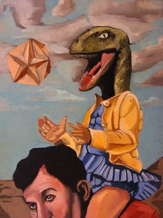 Surreal Painting Original of a Velociraptor Daughter Juxtaposed With her Father