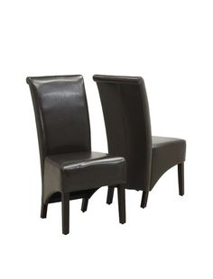 Monarch Dark Brown Leather Look Parson Chair I 1776BR. Combining contemporary design and classic styling, these Parson chairs will help create a modern and luxurious feel to your dining room. With high profile 40'' high backs, exposed cappuccino finish solid wood legs and a leather look brown covered back and seat your Parson chairs will be a focus point of discussion and envy among your friends for years to come.