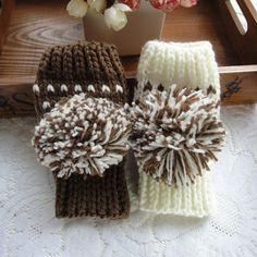 Cute Snowball Gloves - Coffee
