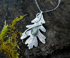 Oak Leaf Necklace with Green Labradorite  Woodland  by SilvanArts