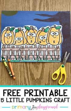 Five little pumpkins sitting on a gate is an all-time favorite for kids. We're incorporating a hands-on activity and math to retell the classic poem/song with these free printable five little pumpkins. Fall Preschool, Kindergarten Activities, Preschool Activities, Preschool Programs, Preschool Curriculum, Kindergarten Classroom, Halloween Activities, Autumn Activities, Halloween Crafts
