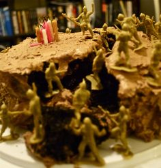 What to do when the birthday cake you've made for your boyfriend falls apart  Add some army men and take the hill, obviously.