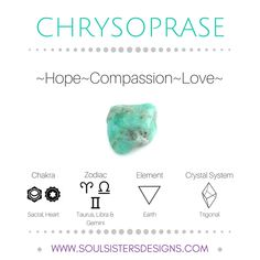 Metaphysical Healing Properties of Chrysoprase, including associated Chakra, Zodiac and Element, along with Crystal System/Lattice to assist you in setting up a Crystal Grid. Go to https://www.soulsistersdesigns.com/chrysoprase to learn more!