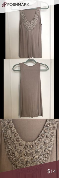 DRESSY TANK TOP Taupe/Grey DRESSY Tank Top w/ Embellishments | Great condition, minus a tiny hole (see picture) - the size of a pencil point mark | Very cute under a cardigan or blazer | Smoke free, clean home! Strawberry  Tops Tank Tops