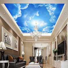3D Wallpaper Mural Clouds Sky Blue And White Background Interior Ceiling  #Unbranded