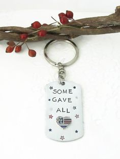 Memorial Day Hand Stamped Keychain  USA Flag  Some by JulessJewels