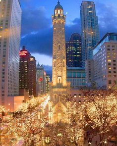 Christmas lights Chicago Magnificent Mile