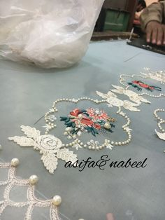 Asifa&Nabeel Hand Work Embroidery, Embroidery Monogram, Indian Embroidery, Embroidery Suits, Lace Embroidery, Hand Embroidery Designs, Embroidery Stitches, Embroidery Patterns, Zardosi Embroidery