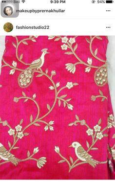 Zardosi Embroidery, Hand Work Embroidery, Bird Embroidery, Indian Embroidery, Embroidery Stitches, Embroidery Patterns, Machine Embroidery, Hand Work Design, Maggam Work Designs
