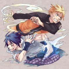 Naruto and Sasuke fanart from Naruto Vs Sasuke, Anime Naruto, Naruto Team 7, Naruto Art, Anime Manga, Sasunaru, Narusaku, Naruhina, Kuroko