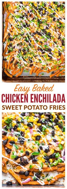 Easy and CHEESY! Sweet potato fries topped with juicy chicken, enchilada sauce, black beans and more. An easy game day recipe that's perfect for party appetizers, foot (Mexican Chicken Enchiladas) Enchilada Sauce, Paleo Vegan, Vegan Snacks, Appetizers For Party, Appetizer Recipes, Party Snacks, Mexican Appetizers, Sweet Potato Recipes, Chicken Recipes