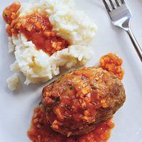 Meatball Loaves with Tomato Gravy and Smashed Potatoes, 30-Minute Meals | rachaelraymag.com